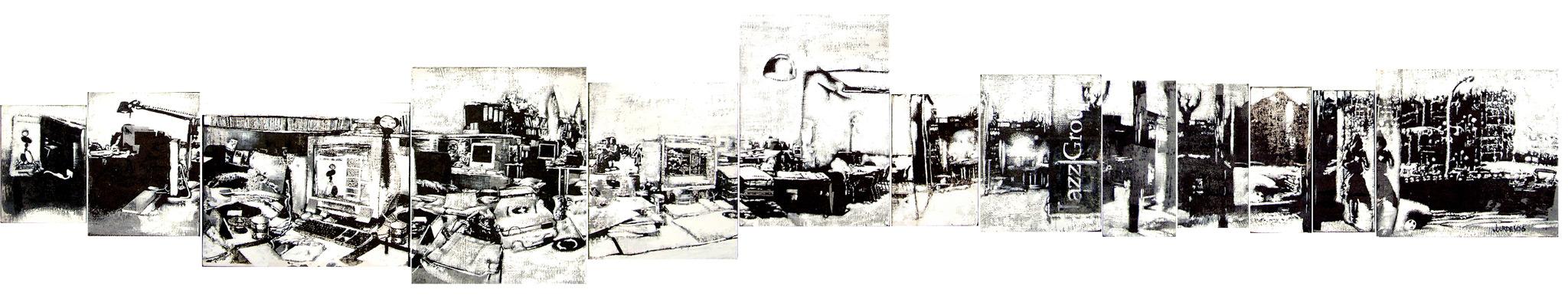 Jazz Group. Miniaturas, 2006, serigrafía y témpera sobre tela,  14 x 10, 17 x14, 19'5 x 24, 25'5 x 20'5, 21 x 17, 25 x 17'5,  15'5 x 10, 14 x 18'5, 8'5 x 19, 7 x 17'5, 17'5 x 8'5, 17 x 6'5, 20 x 21 cm