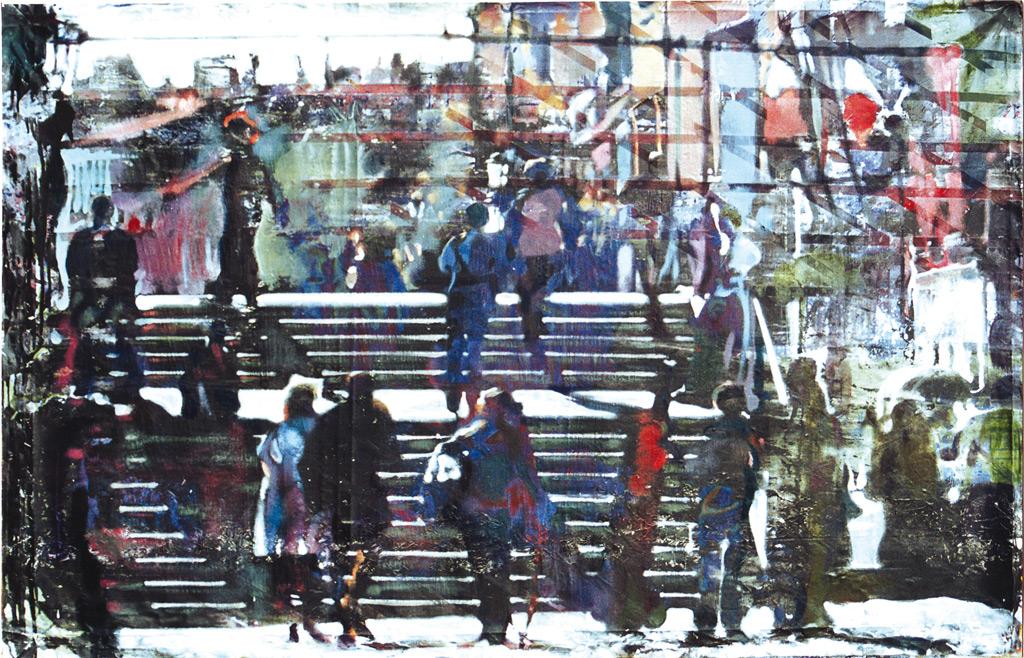 Puente, 2001, acrílico y óleo sobre lienzo, 112,5 x 180 cm