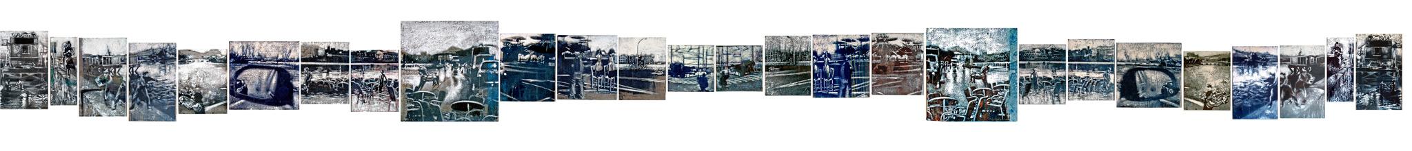 Secuencia imaginada. Nivel 1, 2004, témppera sobre tela serigrafiada, medidas totales: 24 x 353,9 cm