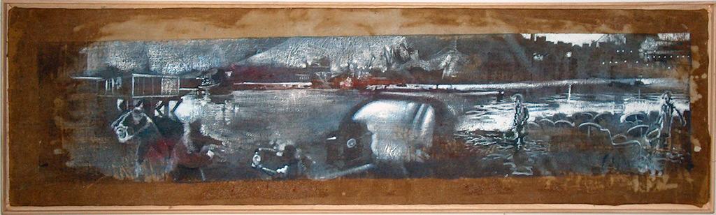 Secuencia imaginada. Nivel 1. Variación 1, 2005, serigrafía, pintura para seda y témpera sobre lino, 27,5 x 100 cm