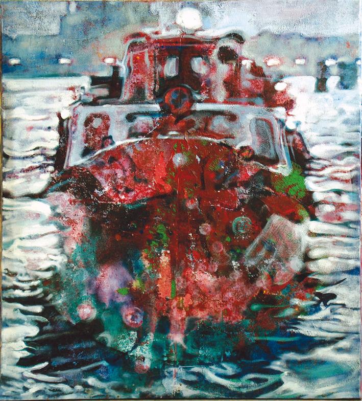 El barco que toca los ojos 3, 2002, acrílico y óleo sobre tela, 81 x 73 cm