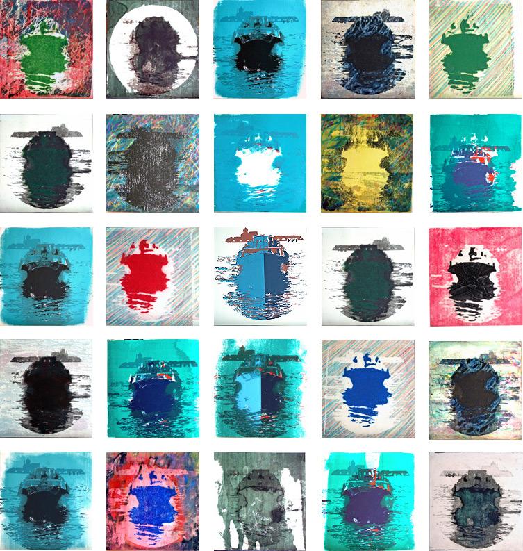 El barco que toca los ojos 2, 2002, aguatinta, serigrafía y técnicas aditivas sobre papel, 25 piezas de 28 x 28 cm