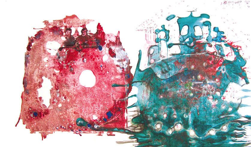 El barco que toca los ojos, 2002, acrílico y témpera sobre tela, 115 x 195 cm