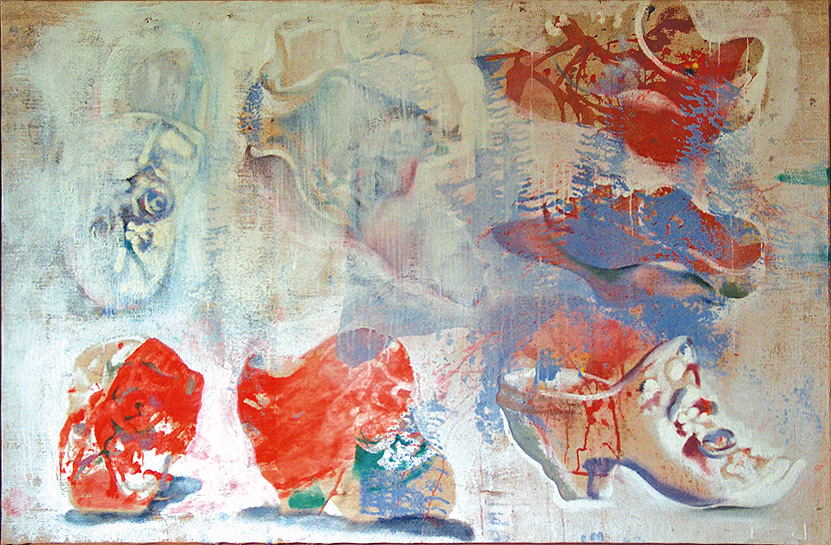 Estudio de un zapato, 2001, acrílico, témpera, gouache y óleo sobre yute, 110 x 160 cm