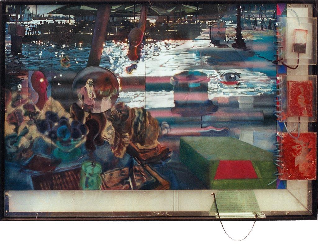 Fosforoscopio, 2000, óleo y témpera sobre tabla, metacrilato, tinte con jabón y lupa de texto, 95 x 135 cm