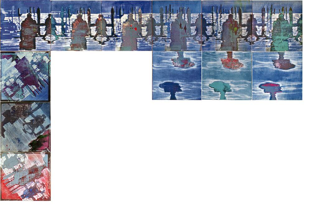 Hombre que camina sobre mar helado, 2002, serigrafía, témpera, pigmentos y óleo sobre tela pegada sobre tabla, 9 piezas de 23 x 23 cm y 3 piezas de 26,5 x 26,5 cm