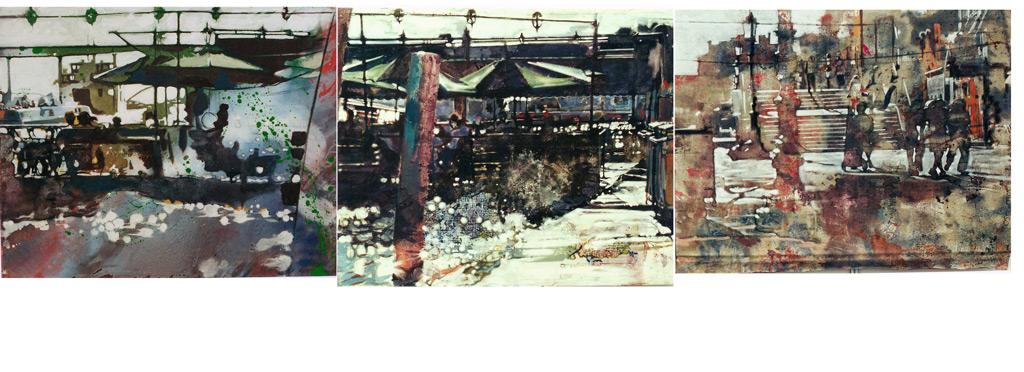 Le zattere, 2001, 1: óleo resinoso sobre tela, 2: acrílico, óleo y témpera sobre tela, 3: acrílico y témpera sobre tela, medidas totales: 90 x 300 cm