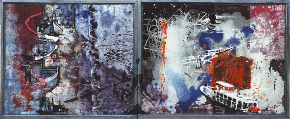 Los saludos de los navíos 1, 2002, témpera sobre tela, 89 x 210 cm