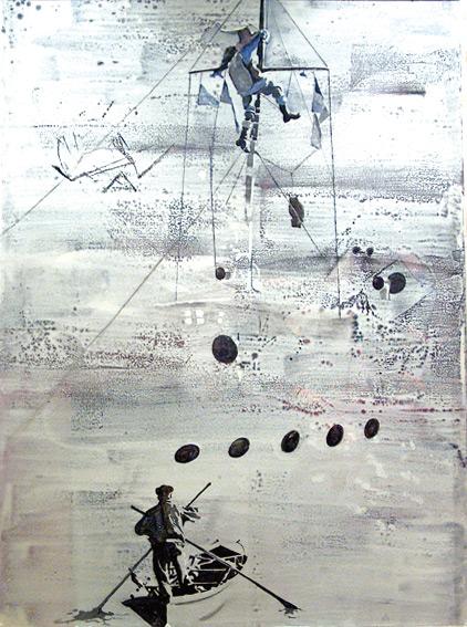 Los saludos de los navíos, 2002, témpera sobre tela, 136 x 103 cm