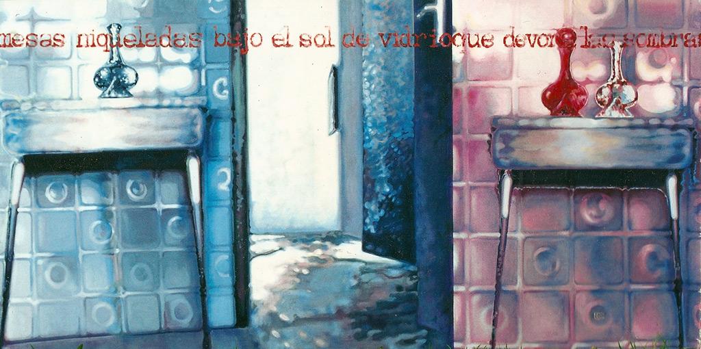 Mesas niqueladas, 2000, témpera y óleo sobre tela, 105 x 210 cm