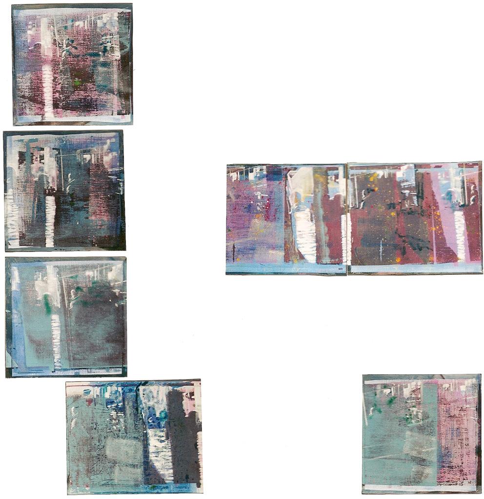 Postimágenes, 2002, serigrafía, témpera, pigmentos y óleo sobre tela pegada sobre tabla, 4 piezas de 26,5 x 26,5 cm y 3 piezas de 25 x 30 cm