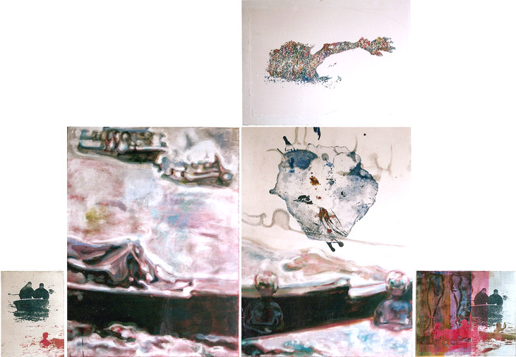Tu isla 1, 2002, acrílico, témpera y óleo sobre tela, serigrafía sobre tabla y serigrafía sobre papel pegado sobre tela, 166,5 x 314 cm