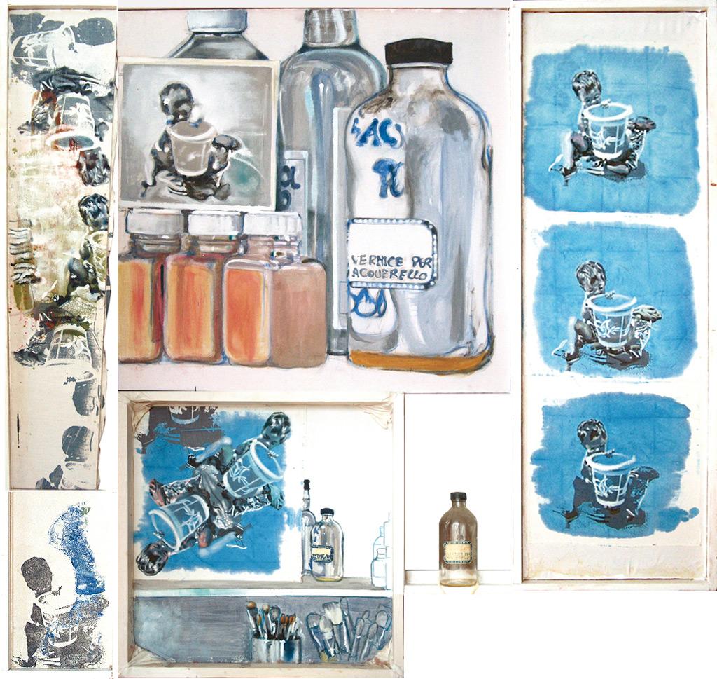 Tu isla 2, 2003, témpera y óleo sobre tela, serigrafía, témpera y óleo sobre tela y botella, 150 x 150 cm