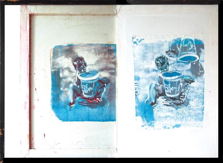 Tu isla 3, 2003, serigrafía, témpera y óleo sobre tela pegada sobre tela, 65 x 92 cm