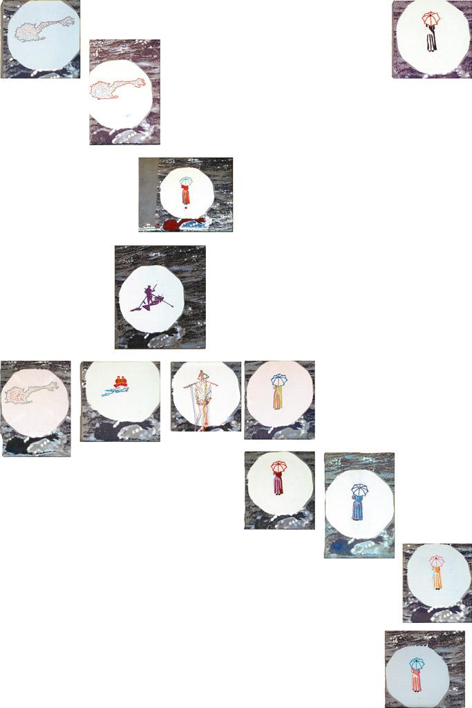 Tu isla 4, serigrafía, óleo, témpera y bordado sobre tela, medidas variables