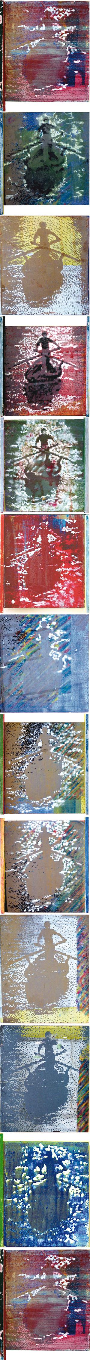 Tu isla 5, 2003, serigrafía, óleo y témpera sobre tabla, 221 x 15 cm