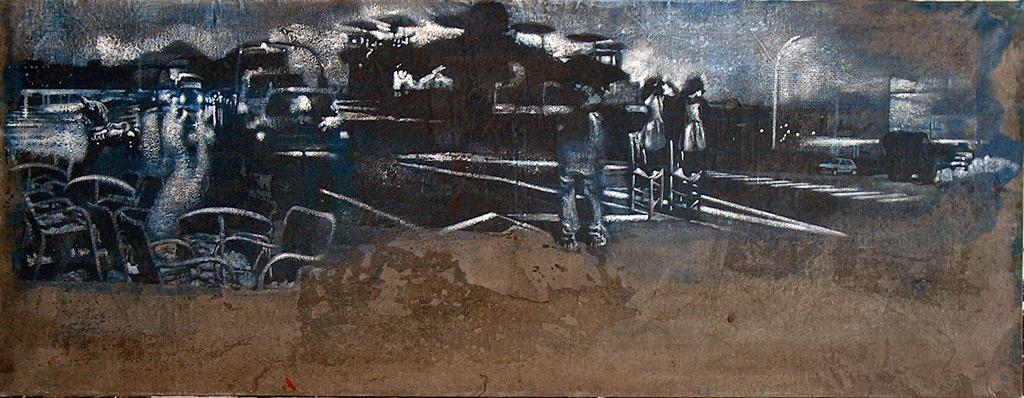 Secuencia imaginada. Nivel 1. Variación 3, 2005, serigrafía, pintura para seda y témpera sobre lino, 30 x 108 cm
