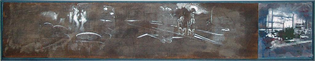 Secuencia imaginada. Nivel 1. Variación 2, 2005, serigrafía, pintura para seda y témpera sobre lino, 20 x 113,5 cm