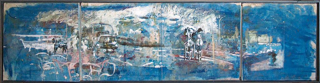 Secuencia imaginada. Nivel 1. Variación 4, 2005, serigrafía, pintura para seda y témpera sobre lino, 26 x 109 cm