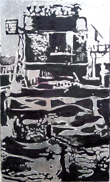 Secuencia imaginada. Nivel 2. Cuadro 1, 2006, témpera y pan de plata sobre tabla, 43,5 x 26 cm cm