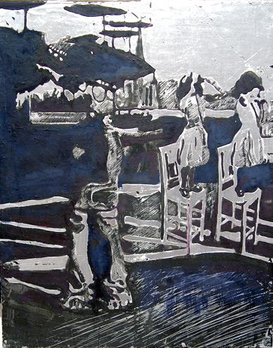 Secuencia imaginada. Nivel 2. Cuadro 11, 2006, témpera y pan de plata sobre tabla, 36 x 28,5 cm