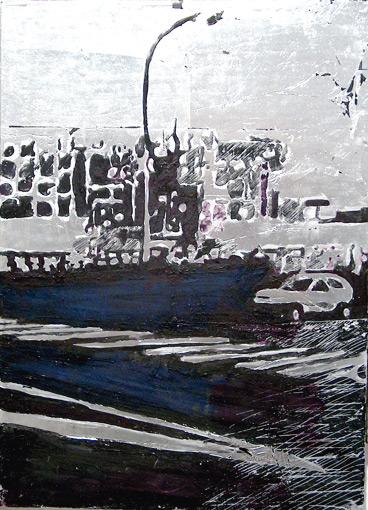 Secuencia imaginada. Nivel 2. Cuadro 12, 2006, témpera y pan de plata sobre tabla, 36 x 26 cm
