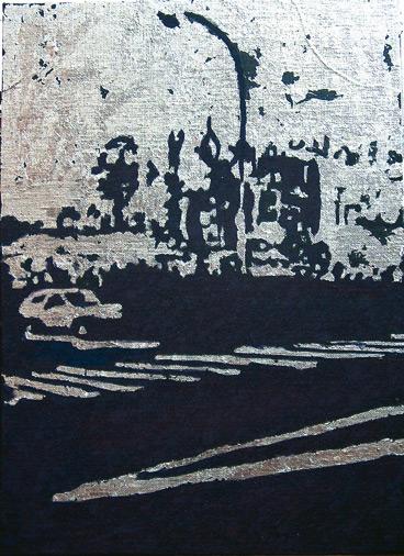Secuencia imaginada. Nivel 2. Cuadro 15, 2006, témpera y pan de plata sobre tabla, 36 x 26 cm