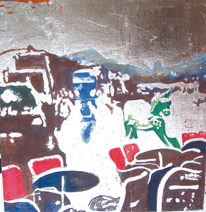 Secuencia imaginada. Nivel 2. Cuadro 18, 2006, témpera y pan de plata sobre tabla, 52 x 50,5 cm