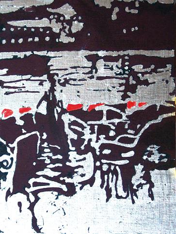 Secuencia imaginada. Nivel 2. Cuadro 19, 2006, témpera y pan de plata sobre tabla, 35 x 26 cm