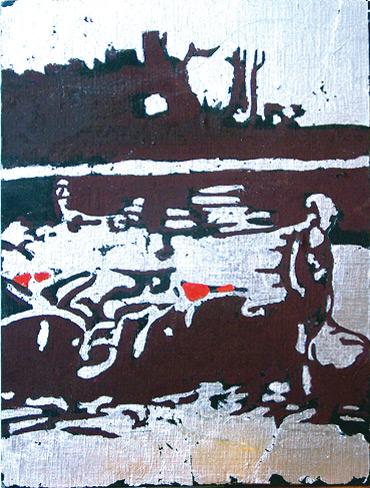 Secuencia imaginada. Nivel 2. Cuadro 20, 2006, témpera y pan de plata sobre tabla, 34,5 x 26 cm
