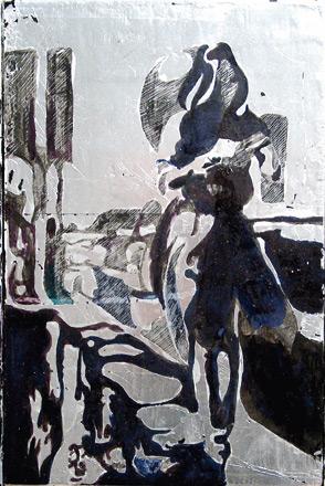 Secuencia imaginada. Nivel 2. Cuadro 2, 2006, témpera y pan de plata sobre tabla, medidas totales: 23 x 21,5 cm cm