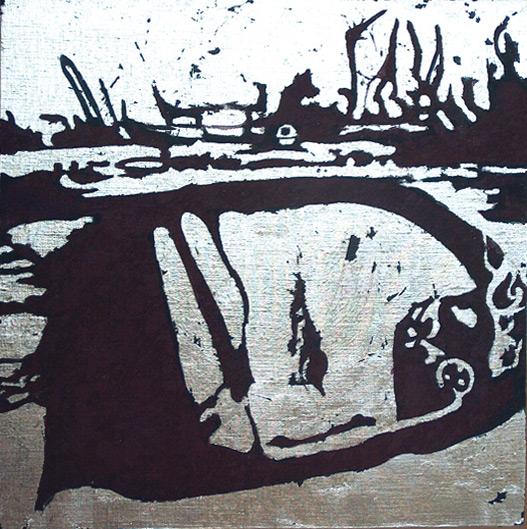 Secuencia imaginada. Nivel 2. Cuadro 21, 2006, témpera y pan de plata sobre tabla, 36 x 36 cm