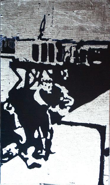 Secuencia imaginada. Nivel 2. Cuadro 24, 2006, témpera y pan de plata sobre tabla, 43 x 26 cm