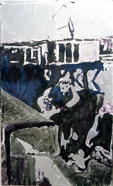 Secuencia imaginada. Nivel 2. Cuadro 3, 2006, témpera y pan de plata sobre tabla, 43 x 26 cm