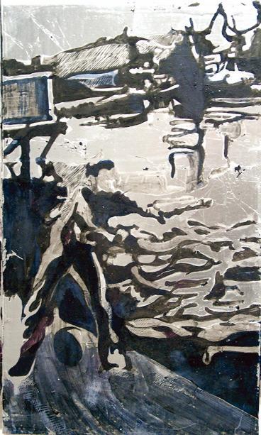 Secuencia imaginada. Nivel 2. Cuadro 4, 2006, témpera y pan de plata sobre tabla, 43 x 26 cm