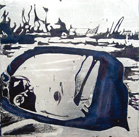 Secuencia imaginada. Nivel 2. Cuadro 6, 2006, témpera y pan de plata sobre tabla, 36 x 36 cm