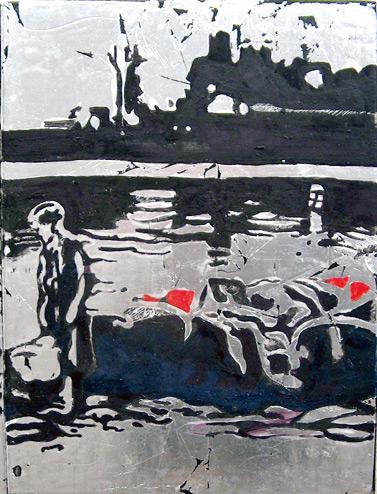 Secuencia imaginada. Nivel 2. Cuadro 7, 2006, témpera y pan de plata sobre tabla, 34,5 x 26 cm