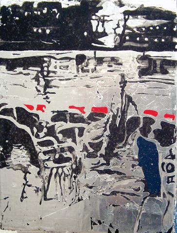 Secuencia imaginada. Nivel 2. Cuadro 8, 2006, témpera y pan de plata sobre tabla, 35 x 26 cm