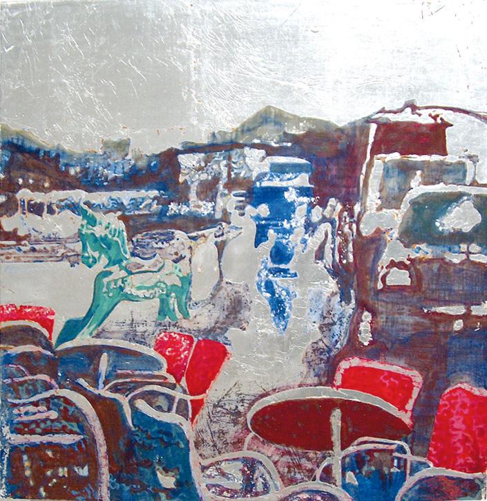 Secuencia imaginada. Nivel 2. Cuadro 9, 2006, témpera y pan de plata sobre tabla, 52 x 50,5 cm