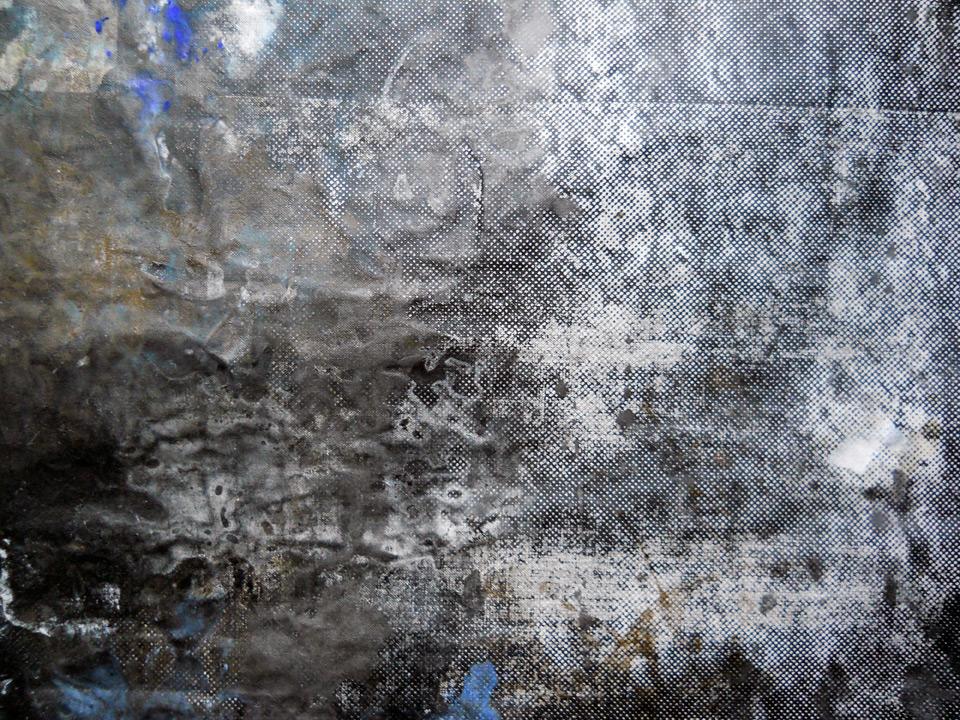 sueño del observador 3, 2013, 300 x 300 cm, serigrafía y témpera sobre lino. Detalle