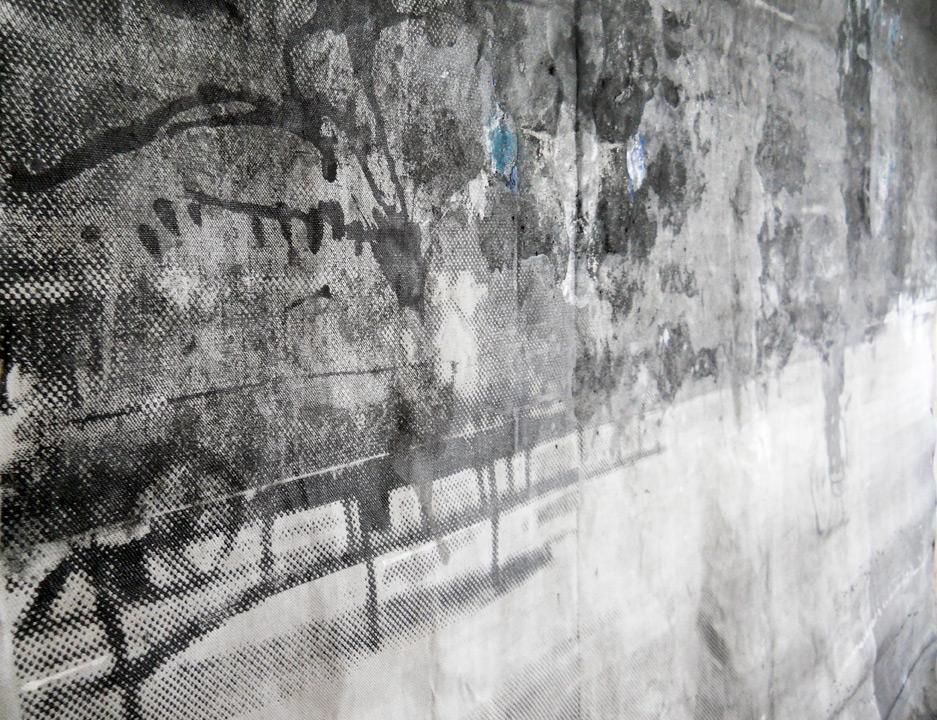 sueño del observador 4, 2013, 300 x 300 cm, serigrafía y témpera sobre lino. Detalle