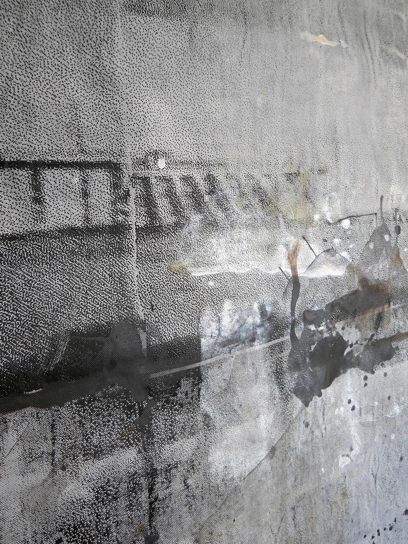 sueño del observador 1, 2013, 300 x 300 cm, serigrafía y témpera sobre lino. Detalle