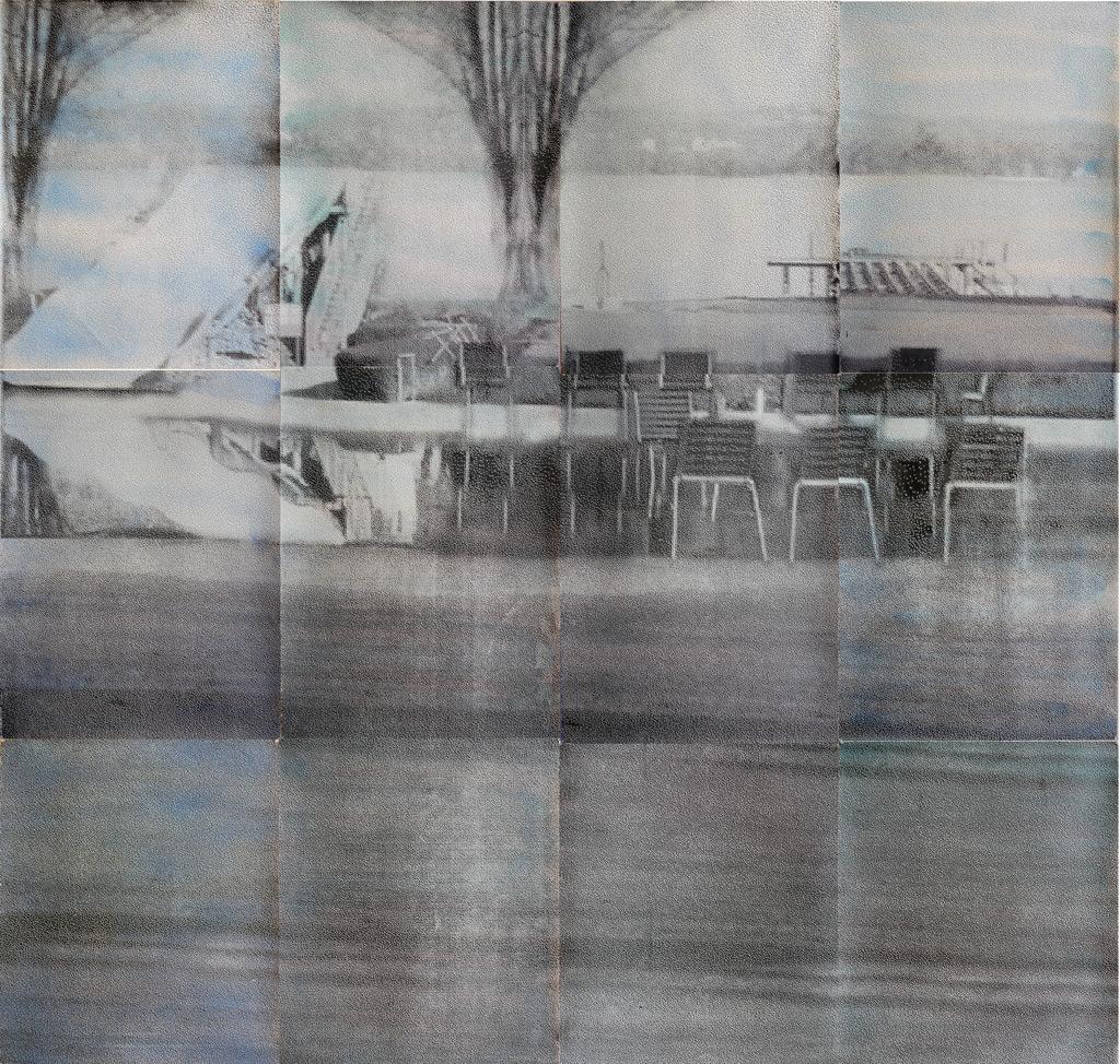 sueño del observador 1, 2013, 300 x 300 cm, acuarela y serigrafía sobre papel