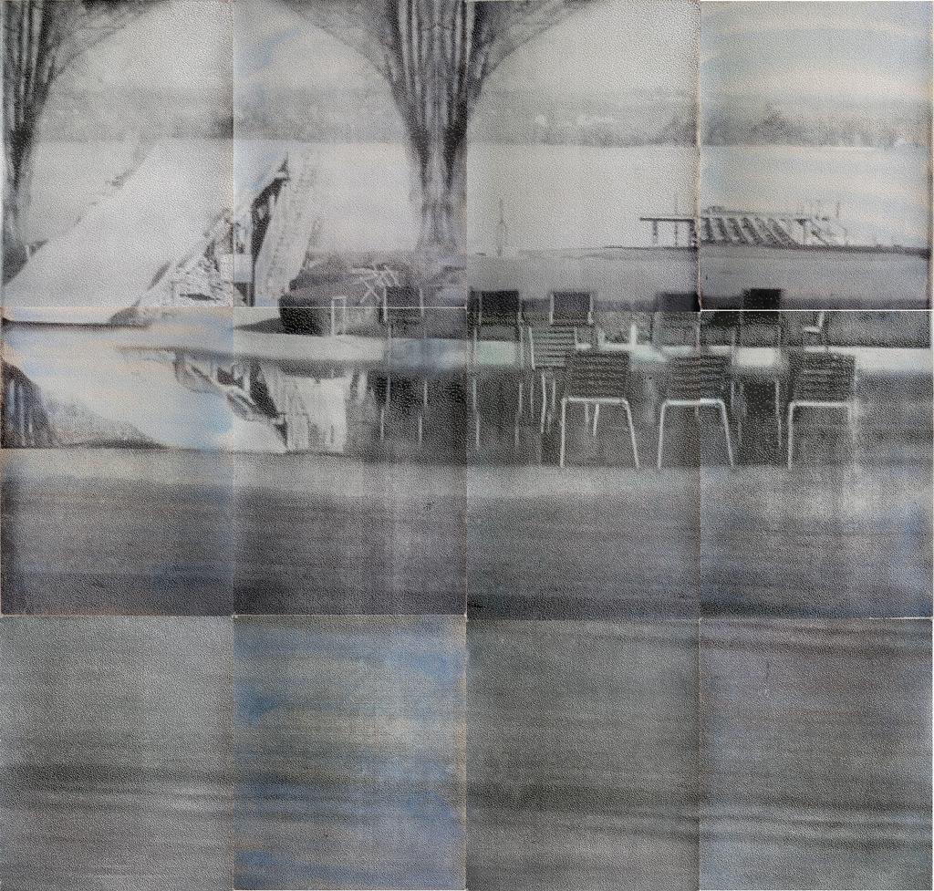 sueño del observador 1, 2013, 300 x 300 cm, acuarela y serigrafía sobre papel, versión 2ª